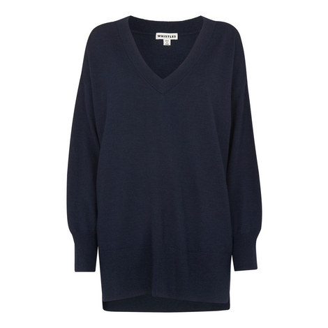 Relaxed V Neck Sweater, ${color}