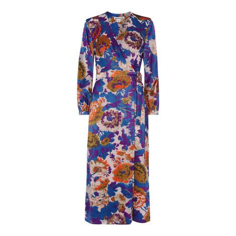 Autumn Bloom Devore Wrap Dress, ${color}