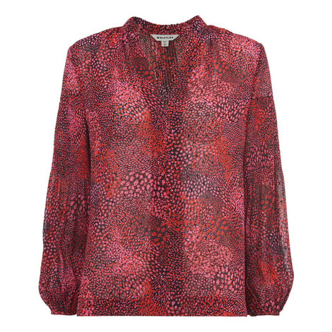 Abstract Animal Print Blouse, ${color}
