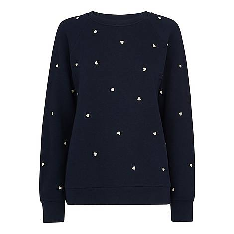Heart Embroidered Sweatshirt, ${color}