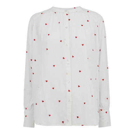 Heart Embroidered Blouse, ${color}