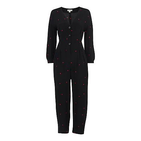 Heart Print Tie Jumpsuit, ${color}