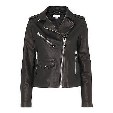 Agnes Pocket Leather Jacket, ${color}