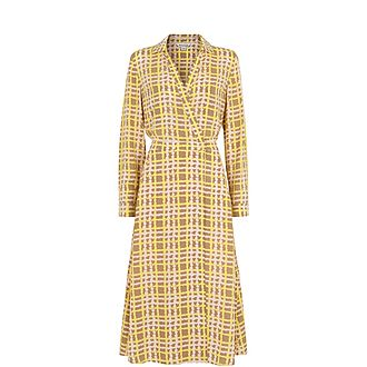 Painted Check Wrap Shirt Dress