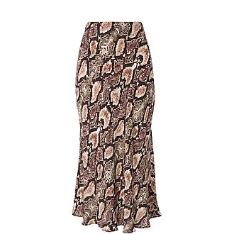 Snake Print Bias Cut Skirt