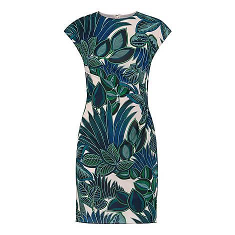 Palm Print Silk Bodycon Dress, ${color}
