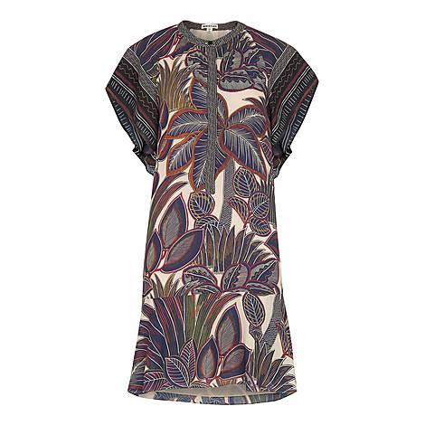 Palm Print Shirt Dress, ${color}