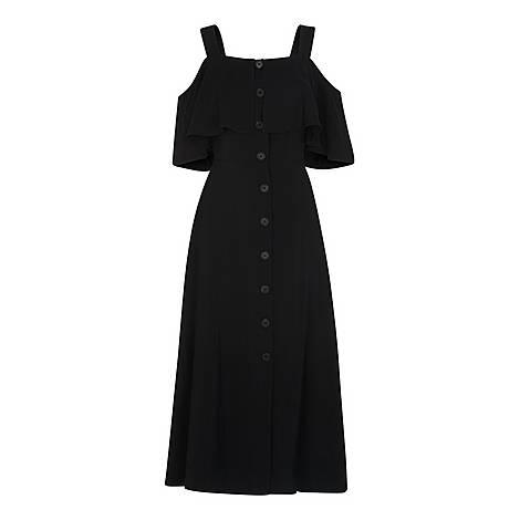 Frill Button Midi Dress, ${color}