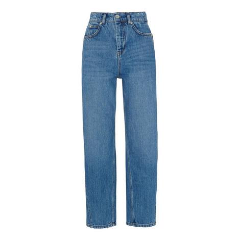 Mid Wash Barrel Leg Jeans, ${color}