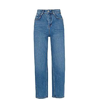 Mid Wash Barrel Leg Jeans