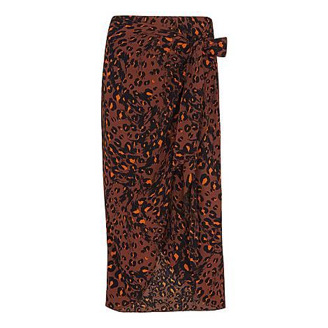 Brushed Leopard Sarong Skirt, ${color}