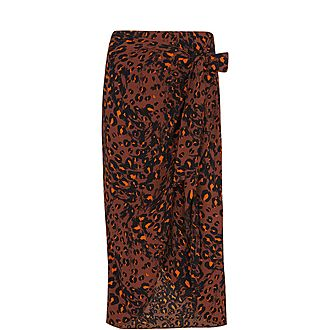Brushed Leopard Sarong Skirt