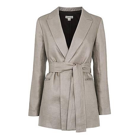 Lea Linen Belted Jacket, ${color}