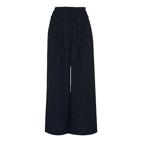 Spot Tie Waist Trousers, ${color}