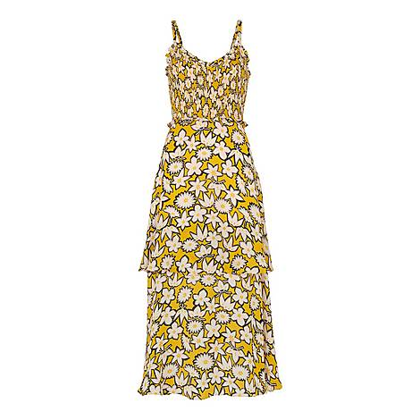 Nyla Floral Print Silk Dress, ${color}