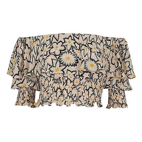 Adela Floral Print Silk Top, ${color}