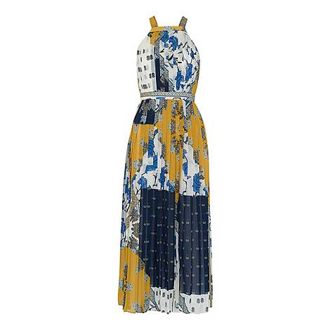Patchwork Scarf Pleated Dress, ${color}