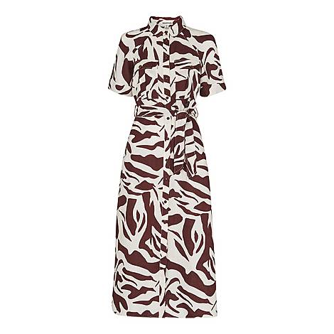 Graphic Zebra Shirt Dress, ${color}