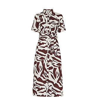 Graphic Zebra Shirt Dress