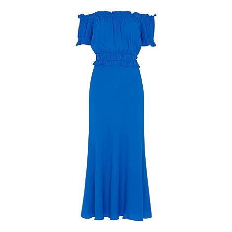 Floren Shirred Bardot Dress, ${color}