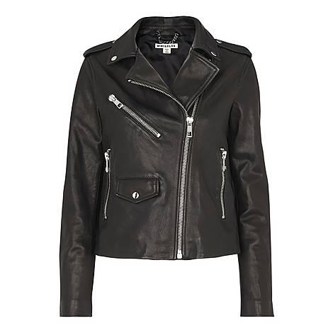 Agnes Pocket Leather Biker Jacket, ${color}