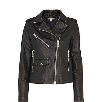 Agnes Pocket Leather Biker Jacket