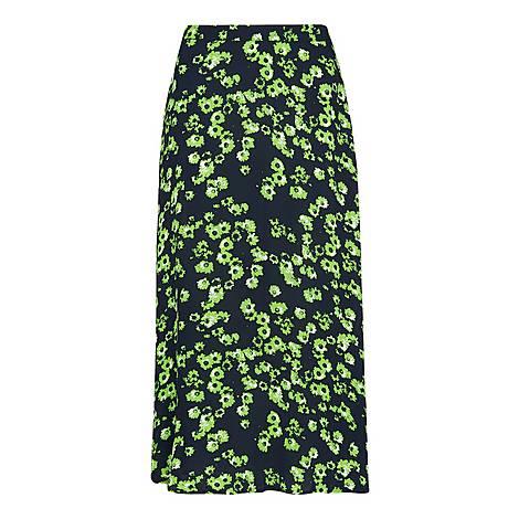 Digital Daisy Print Skirt, ${color}