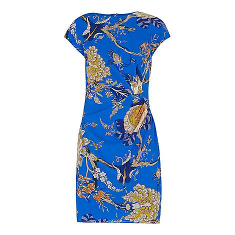 Exotic Floral Silk Bodycon Dress, ${color}