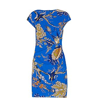 Exotic Floral Silk Bodycon Dress