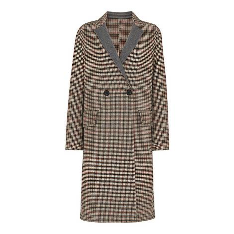 Check Double Faced Wool Coat, ${color}