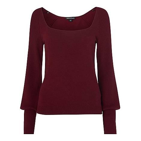 Square Neck Knit Sweater, ${color}