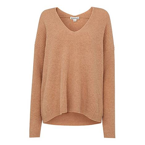V Neck Rib Wool Sweater, ${color}