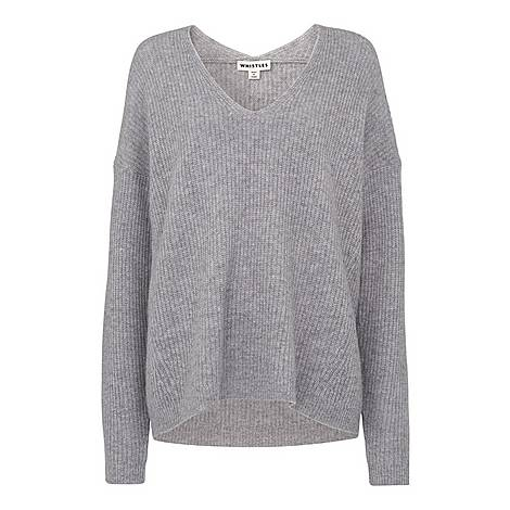 V-Neck Rib Wool Sweater, ${color}