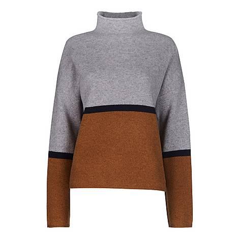 Colourblock Roll Neck Sweater, ${color}
