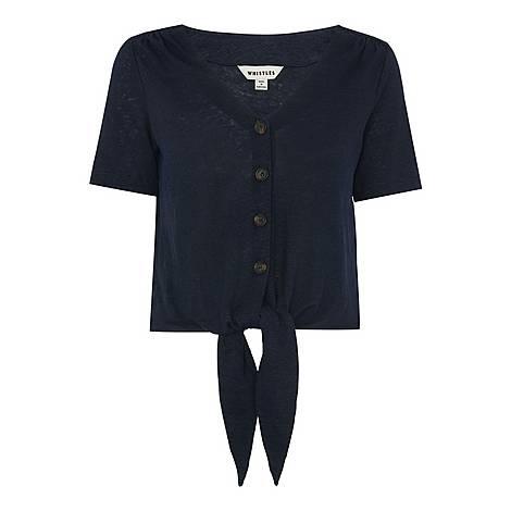 Button Front Tie Top, ${color}