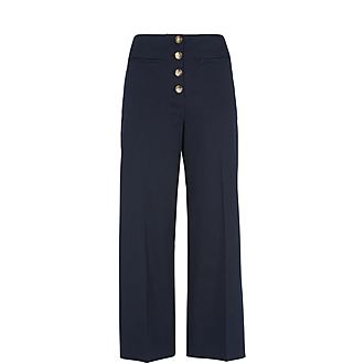 Heidi Button Front Wide Leg Trousers