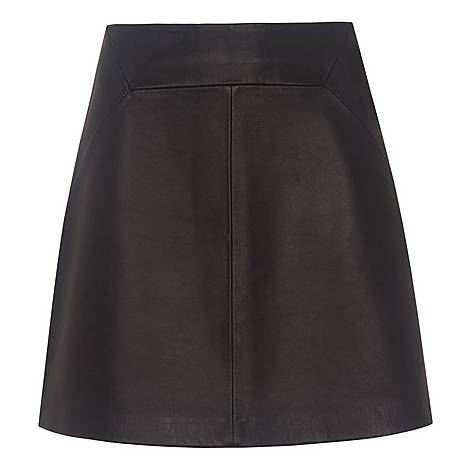 Leather A-Line Skirt, ${color}