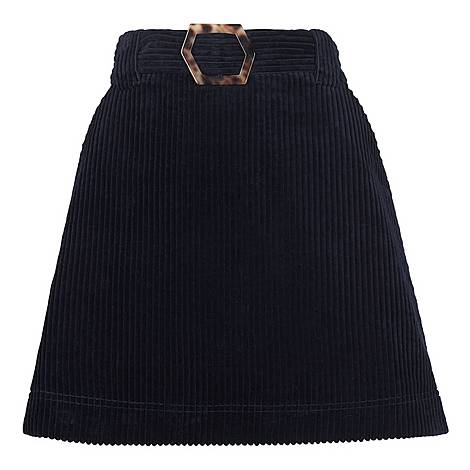 Cord Resin Buckle Skirt, ${color}