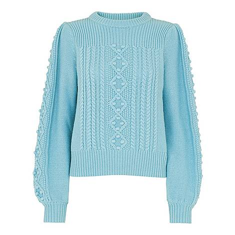 Puff Sleeve Cable Knit Sweater, ${color}