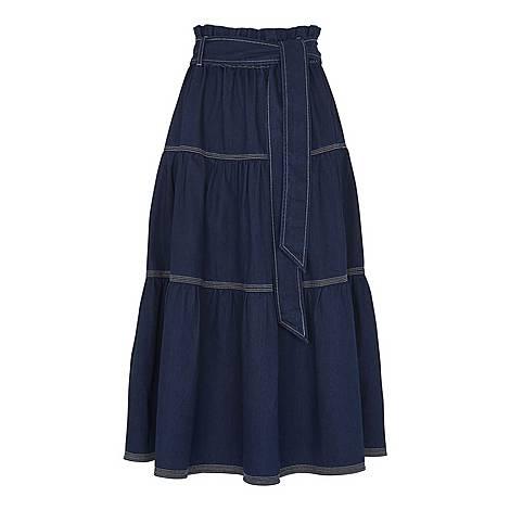 Hilde Tiered Denim Skirt, ${color}