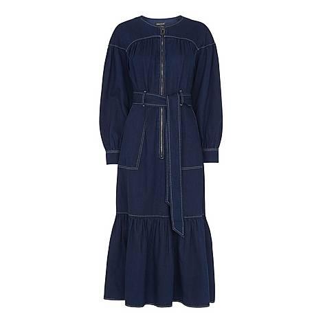 Hilde Tiered Denim Dress, ${color}