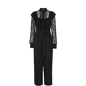 Mixed Lace Frill Jumpsuit