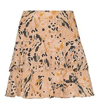 Leopard Print Silk Skirt