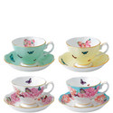 Set of 4 Teacups and Saucer, ${color}