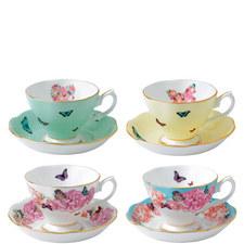 Set of 4 Teacups and Saucer