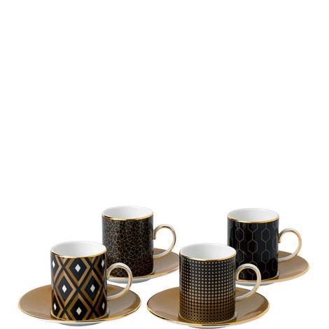 Arris 4 Espresso Cups and Saucers, ${color}