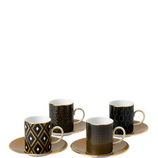 Arris 4 Espresso Cups and Saucers