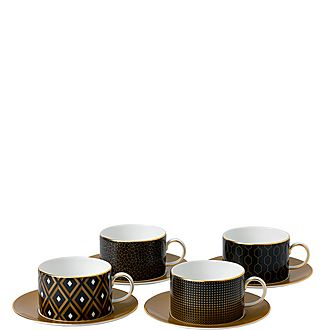Arris 4 Teacups and Saucers
