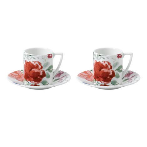Jasper Conran Floral Espresso Cups and Saucers, ${color}