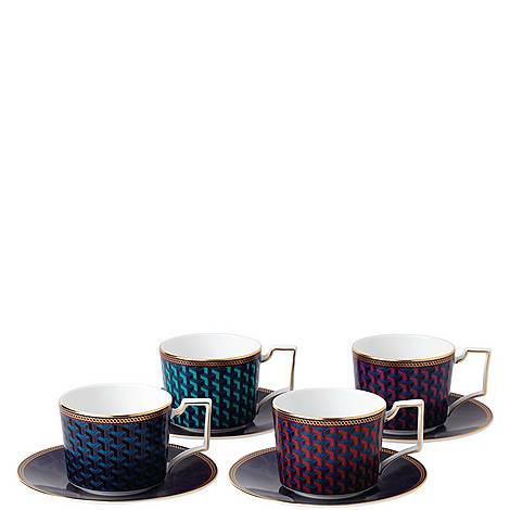 Byzance Set of 4 Teacups and Saucers, ${color}
